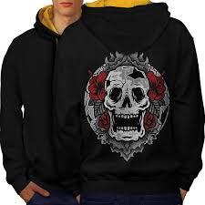 goth art cool skull men black gold hood contrast hoo back wellcoda