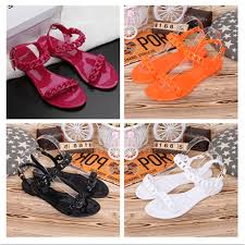 <b>New female</b> plastic chain candy color jelly chain flat <b>sandals</b> ...
