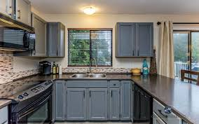distressed blue gray cabinets