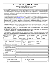 Clery Incident Report Form Non Police Campus Security Authorities