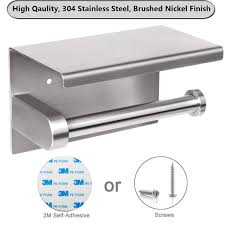 toilet paper holder with shelf adhesive bathroom toilet tissue roll dispenser with mobile phone storage shelf 3m self adhesive no drilling or wall mounted