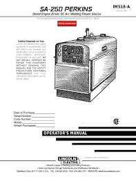 Lincoln Electric Perkins Sa 250 Users Manual Manualzz Com