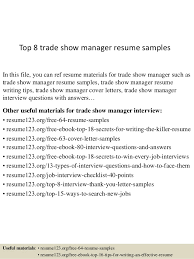 Top 8 trade show manager resume samples In this file, you can ref resume  materials ...