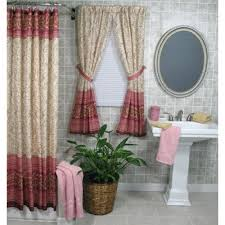 shower curtain and matching window treatments make clip ring shower curtain with matching window valance