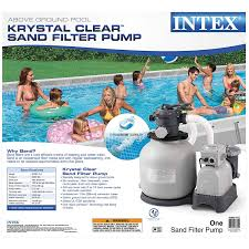 Intex Pool Gallons Chart Intex Krystal Clear Sand Filter Pump For Above Ground Pools 16 Inch 110 120v With Gfci