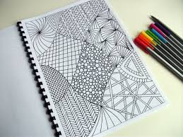Printable Coloring Page Zentangle Inspired Abstract Art