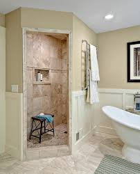 Walk in Showers No Doors Bathroom Traditional with Coastal Style Free  Standing