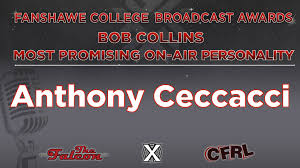 "Radio Broadcasting on Twitter: ""Congratulations Anthony Ceccacci, recipient  of the Bob Collins Most Promising Female On-Air Personality of the Year  Award. @FanshaweCollege #LdnOnt @RadioFC78 @JournalismFC78 #FCRadioAwards  @1069TheX @XFMNews @Newsman09 ..."