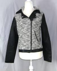 details about xhiliration women s junior faux leather cotton moto jacket hoo size xl