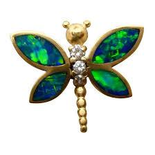 opal pendant gold diamond dragonfly 14k yellow