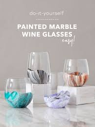 these marble wine glasses are super easy to paint