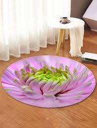flower pattern round area rug blush pink 120 cm round