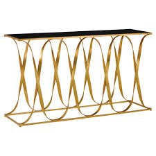 walsh hollywood regency gold iron ribbon black glass top console table kathy kuo home