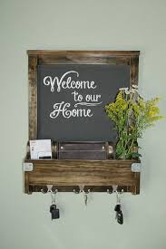 entry wall organizer with chalkboard wood walnut stain awesome for 1