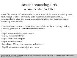 Senior Accounting Clerk Recommendation Letter