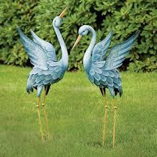 animal garden. Set Of 2: Japanese Blue Herons Animal Garden Sculptures