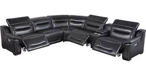 3 449 99 gallia black leather 6 pc power plus reclining sectional contemporary
