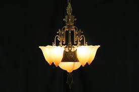 antique art deco 1920 s chandelier original etched glass