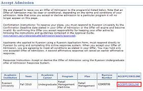 Decline An Offer How To Decline An Admissions Offer Ramss Support Ryerson University