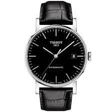 tissot tissot everytime 40mm black dial leather strap men s automatic watch