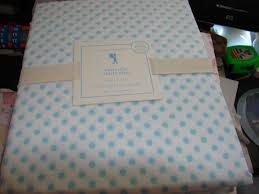 Pottery Barn Kids Twin Size Mini Dot Sheet Set Gorgeous With Light Blue Dots