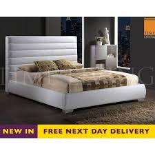 chessington chess5wht 5ft king size white faux leather bed est chessington 5ft king size white leather bed