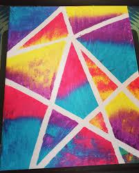 Canvas painting using masking tape.