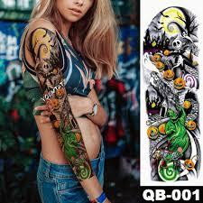 New 1 Piece Temporary Tattoo Sticker Skull Pumpkin Halloween Tattoo With Arm Body Art Big Sleeve Large Fake Sticker