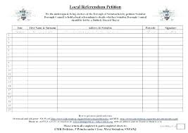 Blank Petition Signature Sheet Template Printable Sheets