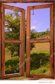Old Window Frames Landscape Seen Through An Old Window Stock Image I1329804 At
