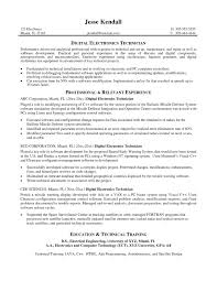 Electronic Technician Resume Objective New Electronic Technician