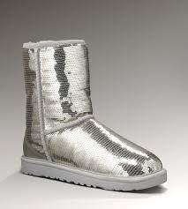 UGG Classic Short Glitter Boots 3161 Silver