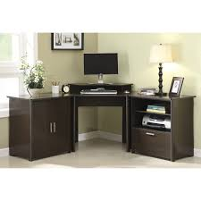 altra chadwick collection corner desk countertops with storage black solid wood for office furniture having cabinet and double swing door panel plus printer