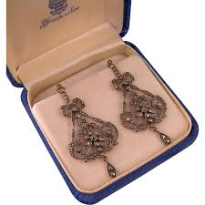 art deco sterling marcasite chandelier earrings 2 1 2