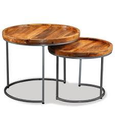 vidaxl solid mango wood side table set 2 pieces bedside nightstand lamp coffee
