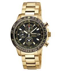 seiko watch men s chronograph solar aviator gold tone stainless seiko watch men s chronograph solar aviator gold tone stainless steel bracelet 43mm ssc008