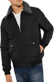 threadbare men camden aviator faux fur collar ma1 er jacket fashion coat s black about this picture 1 of 5 picture 2 of 5