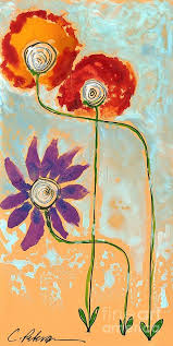 art work title three flower maids in a row making a family the image is from an original work of art by cathy peterson this print is new