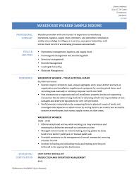 warehouse worker resume samples template tips looking warehouse worker resume