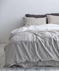in bed dove grey linen duvet set