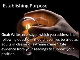 greg ousley is sorry for killing his parents is that enough 3 establishing purpose goal write an essay in which you address the following question should juveniles be tried as adults