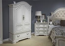 Magnolia Manor Upholstered Bed 6 Piece Bedroom Set in Antique White ...