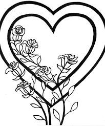 Roses and heart stained glass. Free Printable Heart Coloring Pages For Kids