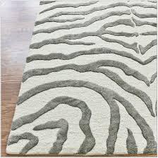 grey and white zebra rug