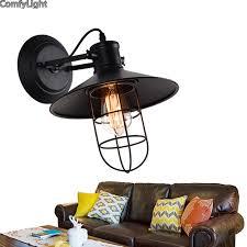 loft industrial iron cage. Retro Small Iron Cage Wall Lamp Creative Loft Industrial Light E26/E27 Bedside L