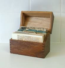 wooden recipe box with vintage recipe cards