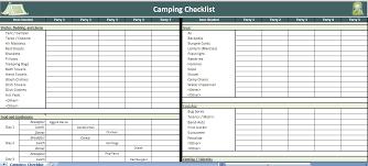 Camping Checklist Excel Template Excel Camping Checklist