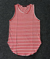 Red and black striped singlet
