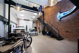 calgary collector car garage industrial with corrugated metal themed wall stencils distressed