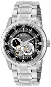 bulova men s bva 96a119 silver stainless steel automatic watch bulova men s bva 96a119 silver stainless steel automatic watch black dial bulova amazon co uk watches